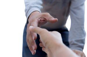 Helping hand representing good samaritan act.