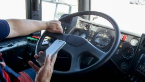 A truck driver distracted while driving in Houston, Texas.