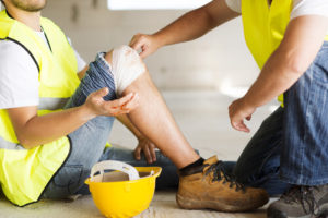 injured worker at a construction site