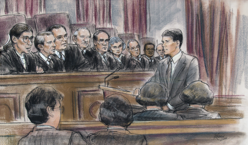 Courtroom Sketch - Michael P. Fleming appearing before the Supreme Court