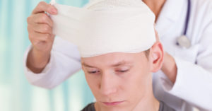 Young man's head injury from car accident.